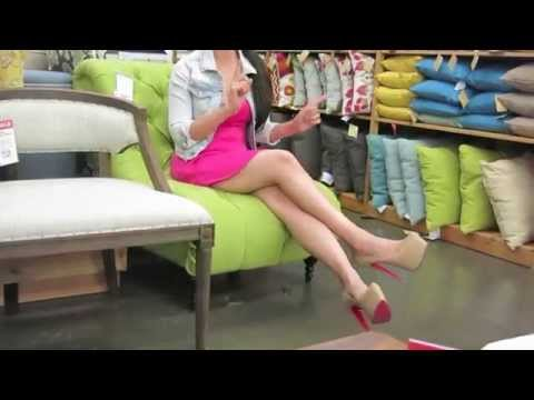Sexy Girl Walking in High Heels Shopping at Furniture Store - Doing Funny Things