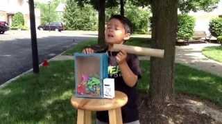 Reid's cardboard claw machine for Mrs. Fisher