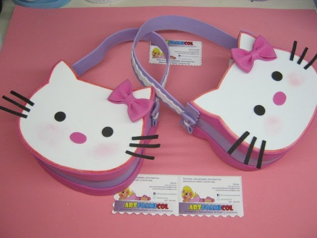 Video Tutorial BOLSOS O COTILLONES EN FOAMY GOMAEVA DE HELLO KITTY ...