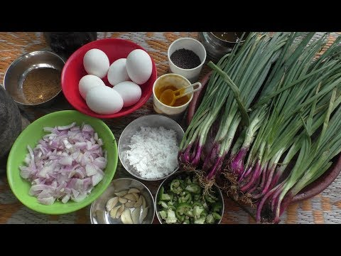 village style Cooking ❤ Egg -  Spring Onion Stir Fry Recipe  / Cooking By Village food Recipes