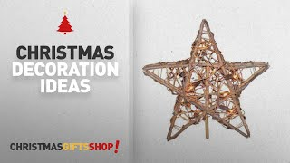 Top Burlap Christmas Decorations: Kurt Adler 10 Light Indoor Rattan Natural Star Treetop