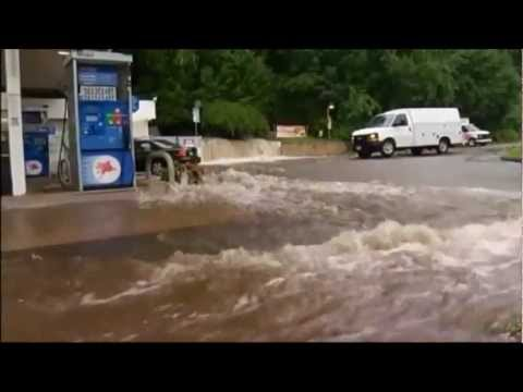 Governor of Naugatuck, Connecticut declares State of Emergency due to massive Flooding (Aug 2, 2012)