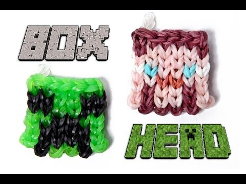 Rainbow Loom Box Head Charm Tutorial - Minecraft Steve or Creeper Head