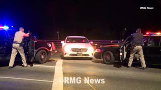 Young woman arrested after a CHP pursuit which ended in a PIT maneuver in Hollywood, California.