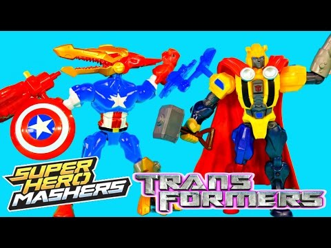 NEW Super Hero Mashers Transformers BumbleBee Strafe Spiderman Thor Iron Man Swappable Gear Toys