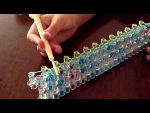 Como hacer pulsera single  en telar raimbow loom
