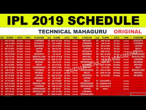 IPL 2019 Schedule - IPL 2019 Time Table - IPL 2019 STARTING DATE - TECHNICAL MAHAGURU