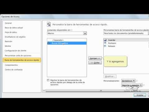 Access - Curso de Access. Añadir botones personalizados a la barra de herramientas
