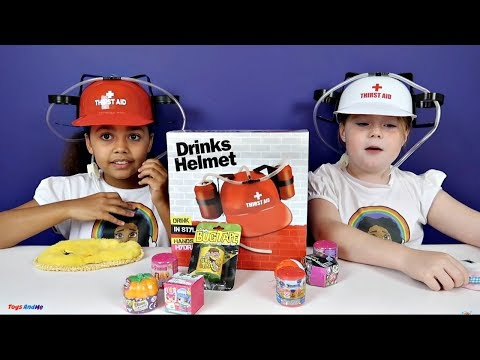 Freaky Gross Soda Challenge! Drinks Helmet Guessing Game - Shopkins - Gummy Candy - Surprise Eggs