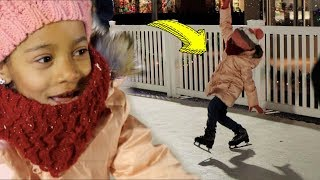 First Time Ice Skating FAIL! New Holiday Intro!! Vlogmas Day 2