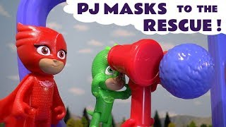PJ Masks Gekko to the rescue - Thomas and Friends toy train crash story for kids and children TT4U