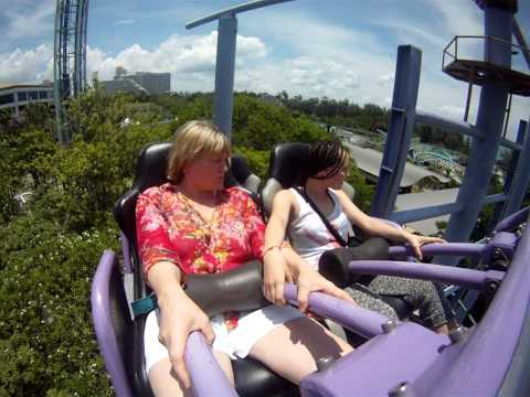 My mom's first roller coaster ride!