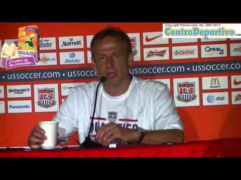 Jurgen Klinsmann offers press conference after beating Mexico in world cup qualifier game in Columbu