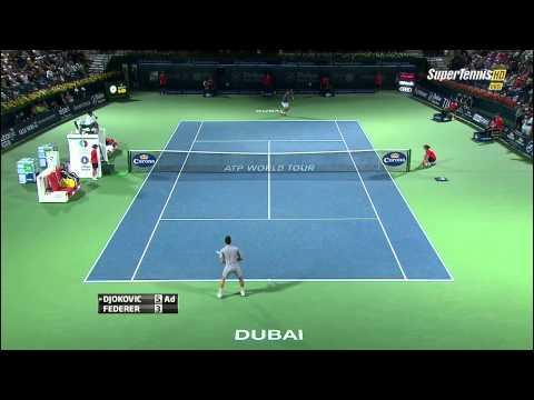 Roger Federer vs Novak Djokovic Dubai 2014 Best point by Federer [HD]