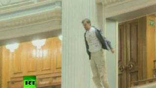 'You killed our future': Man throws himself from balcony in Romanian parliament