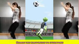 Musically Dame Tu Cosita FIFA Challenge By Girl ⚽❤️ El Chombo Alien Green Frog