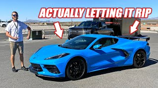 FULL RIP in the NEW Mid Engine C8 CORVETTE! (Track Day/How To Do a Burnout/Freedom)