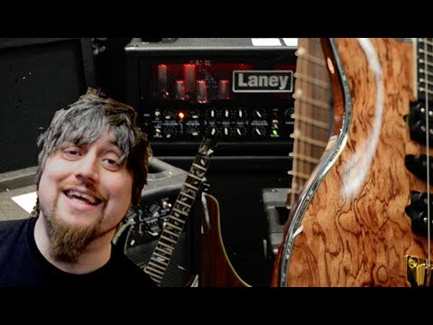 Headstock Laney Expo 2014 with A1+ and Ibanez AEW22CD