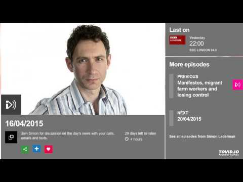 Simon Lederman Show BBC Radio London April 2015