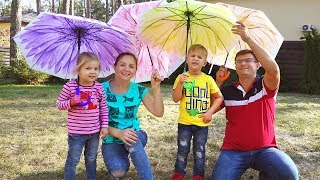 Rain, Rain Go Away Song Nursery Rhymes with Roma, Diana, Mommy and Daddy, Family Songs for Children