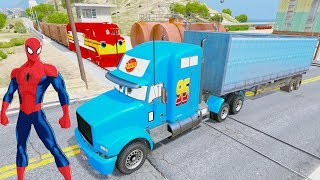Fun Learn Colors Trailler Truck & Fire Cars In Trouble w Train With Superheroes Help For Children