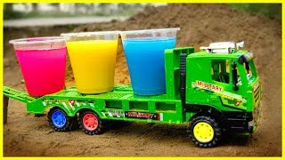 Learn Colors And Dinosaurs | Fine Toys Construction Vehicles Toys For Kids | BIBI TOYS