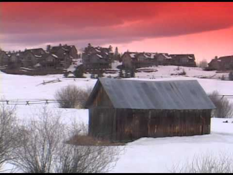 scenic old barn winter red