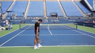 Milos Raonic / Stanislas Wawrinka Practice US Open 2014