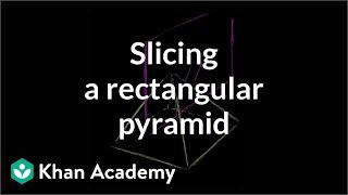 Slice a rectangular pyramid | Perimeter, area, and volume | Geometry | Khan Academy