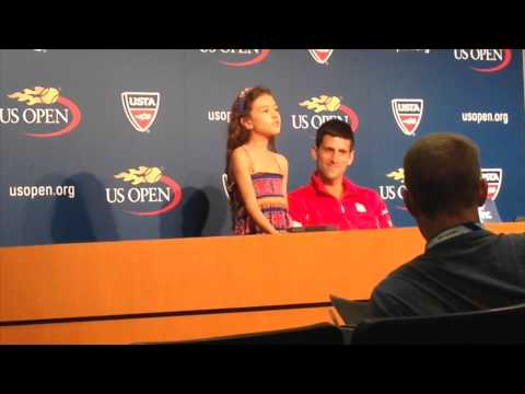 Zia Uehling singing with Novak Djokovic