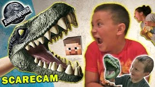 Jurassic World Scare Cam + Minecraft & Box Stair Cam (FUNnel Vision Velociraptor Fun)