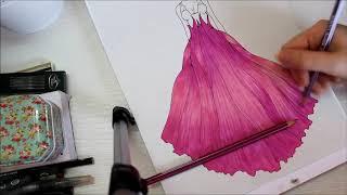 Speed paint, fashion illustration, princess dress