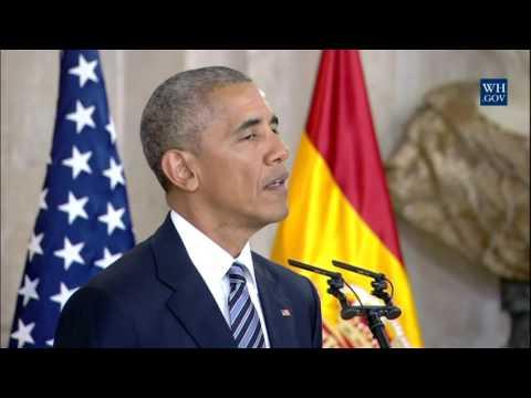 President Obama greets His Majesty King Don Felipe VI of Spain