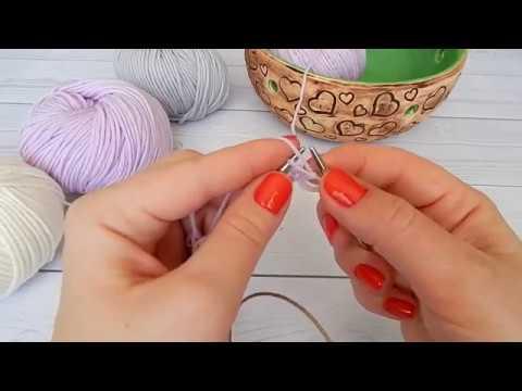 Как набрать петли на спицы. Вязание лицевых и изнаночных петель. Вязание для начинающих.