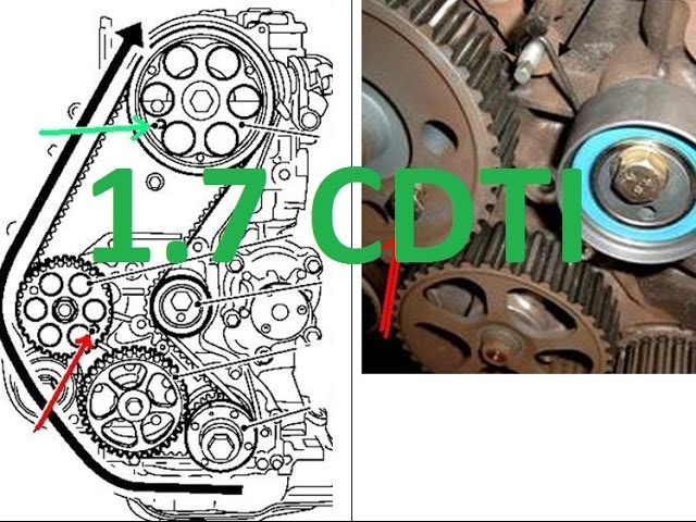 How to replace timing belt cambelt 1.7 cdti Astra H Zafira ...