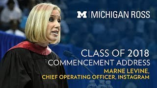 2018 Michigan Ross Commencement Address - Marne Levine, Instagram