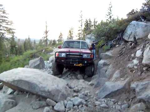 Toyota land cruiser with 36's ham radio through the rubicon