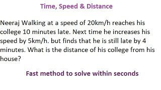 Time, Speed & Distance Aptitude Trick in Hindi for all competitive exams part 8