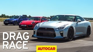 Litchfield Nissan GT-R vs BMW M5 vs Porsche 911 Turbo S drag race | Autocar