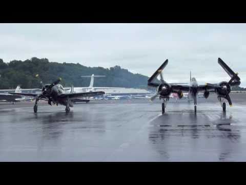 Grumman F8F Bearcat & F7F Tigercat Startup Taxi and Takeoff at KBFI Seattle