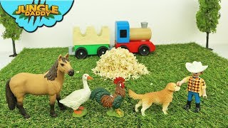Learn FARM ANIMALS under the hay! Surprise ranch train schleich and mojo animal toys