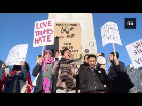 BERLIN  Anti Trump Feminists chant 'Allahu Akbar' at 'Women's March' against Inauguration