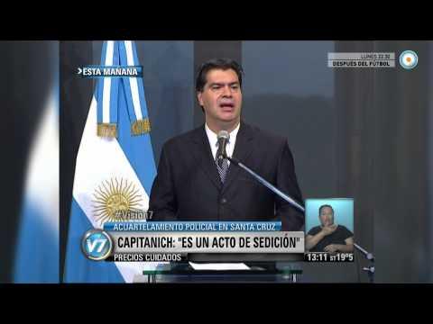 Visión 7 - Capitanich, sobre el acuartelamiento policial en Santa Cruz