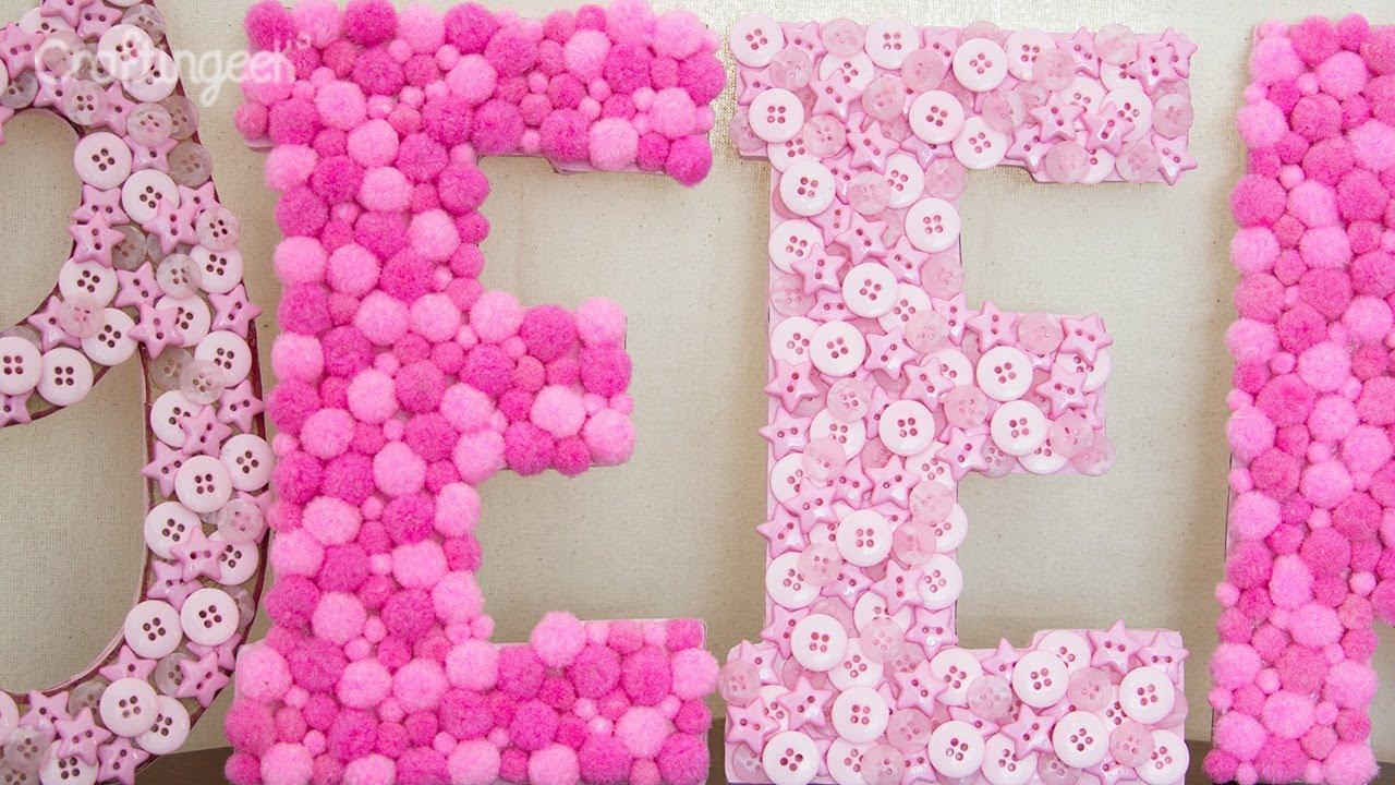 Letras decorativas super f ciles youtube - Decorar letras de corcho blanco ...