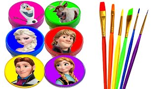 Disney Princess Drawing and Painting Rainbow Colors for Kids Frozen Elsa, Anna, Ariel, Rapunzel