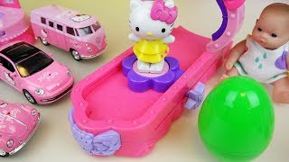 Hello Kitty car toys and dress change with Baby doll surprise eggs play
