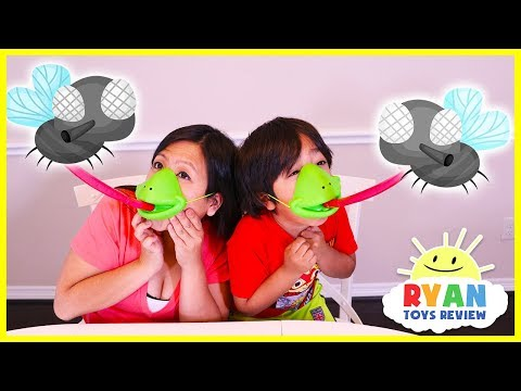 Ryan plays Tic Tac Tongue Catch Bugs Game!!!