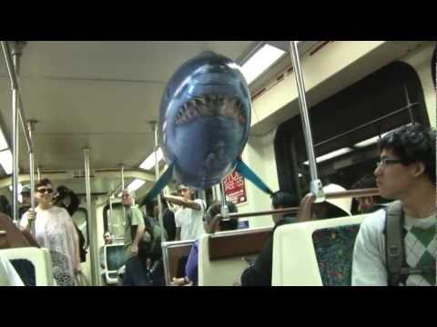 Great white flying shark takes the subway!