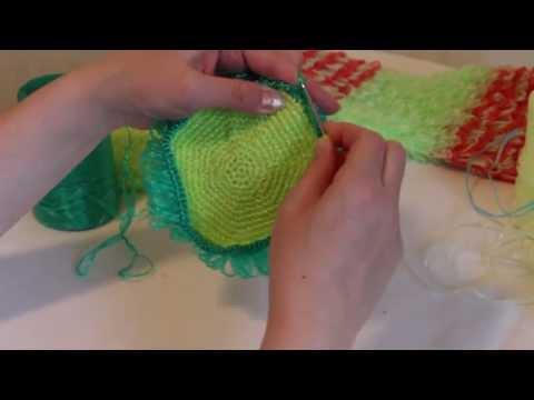 Как вязать вытянутые петли в мочалке