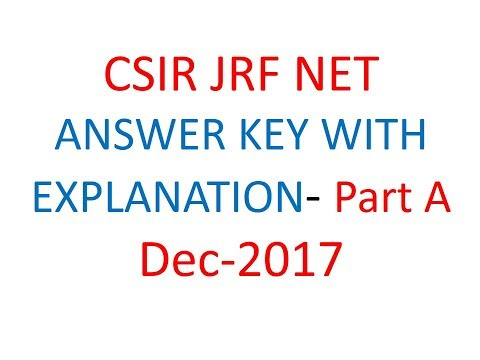CSIR JRF NET answer key with explanation- Part A